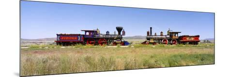 Steam Engine Jupiter and 119 on a Railroad Track, Golden Spike National Historic Site, Utah, USA--Mounted Photographic Print