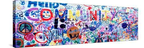 Close-Up of a Hand Painted Community Banner, Eureka, California, USA--Stretched Canvas Print