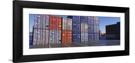 Cargo Containers on a Commercial Dock--Framed Art Print