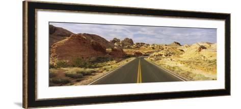 Empty Road Running Through a Landscape, Valley of Fire State Park, Nevada, USA--Framed Art Print