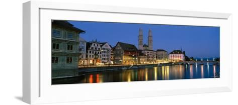 Buildings at the Waterfront, Grossmunster Cathedral, Zurich, Switzerland--Framed Art Print