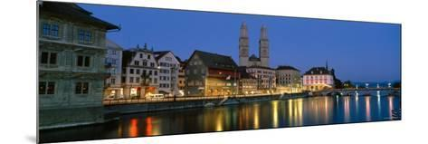 Buildings at the Waterfront, Grossmunster Cathedral, Zurich, Switzerland--Mounted Photographic Print