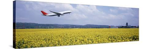 Airplane Taking Off, Zurich Airport, Kloten, Zurich, Switzerland--Stretched Canvas Print