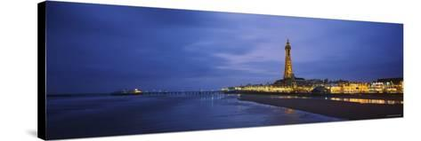 Buildings Lit Up at Dusk, Blackpool Tower, Blackpool, Lancashire, England--Stretched Canvas Print