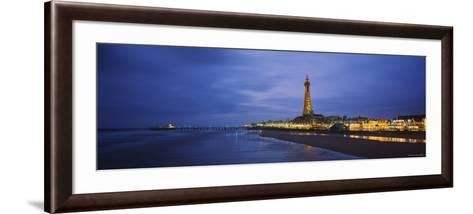 Buildings Lit Up at Dusk, Blackpool Tower, Blackpool, Lancashire, England--Framed Art Print