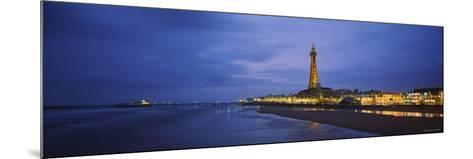 Buildings Lit Up at Dusk, Blackpool Tower, Blackpool, Lancashire, England--Mounted Photographic Print