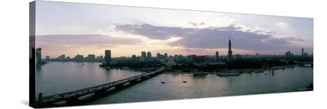 Aerial View of a Bridge over Nile River, Cairo, Egypt--Stretched Canvas Print