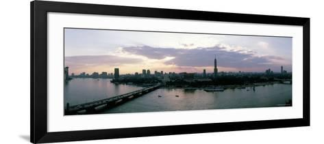 Aerial View of a Bridge over Nile River, Cairo, Egypt--Framed Art Print