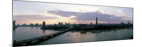 Aerial View of a Bridge over Nile River, Cairo, Egypt--Mounted Photographic Print