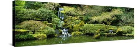Waterfall in a Garden, Japanese Garden, Washington Park, Portland, Oregon, USA--Stretched Canvas Print