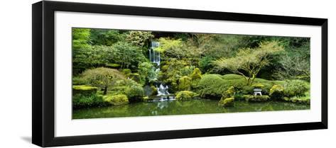 Waterfall in a Garden, Japanese Garden, Washington Park, Portland, Oregon, USA--Framed Art Print