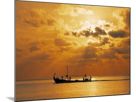 Boat at Sunset, Maldives, Indian Ocean-Jon Arnold-Mounted Photographic Print