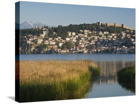 Morning View of Old Town and Car Samoil's Castle, Ohrid, Macedonia-Walter Bibikow-Stretched Canvas Print