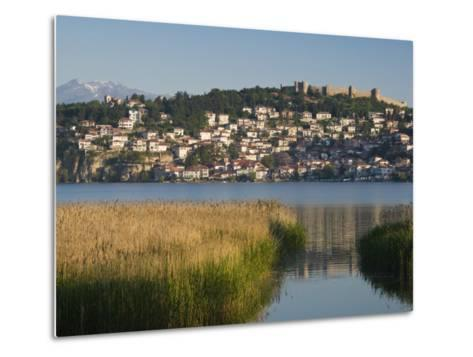 Morning View of Old Town and Car Samoil's Castle, Ohrid, Macedonia-Walter Bibikow-Metal Print