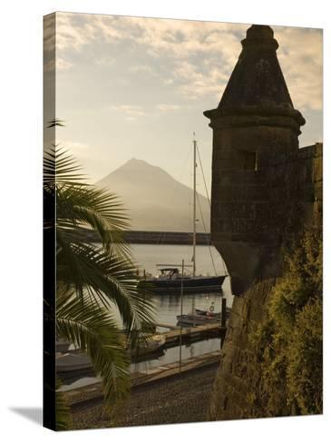 Harbour with Volcanic Island of Pico Beyond, Horta, Faial Island, Azores, Portugal-Alan Copson-Stretched Canvas Print