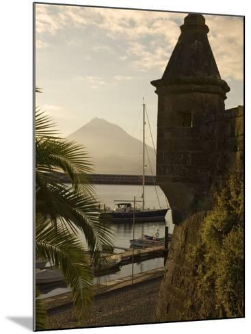 Harbour with Volcanic Island of Pico Beyond, Horta, Faial Island, Azores, Portugal-Alan Copson-Mounted Photographic Print