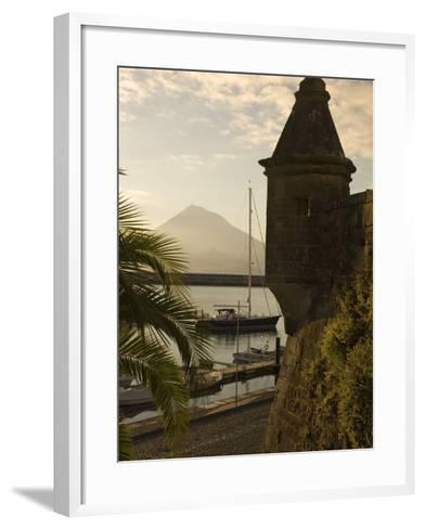 Harbour with Volcanic Island of Pico Beyond, Horta, Faial Island, Azores, Portugal-Alan Copson-Framed Art Print