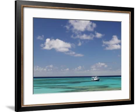 Turquoise Water and Dive Boat, Cockburn Town, Grand Turk Island, Turks and Caicos-Walter Bibikow-Framed Art Print