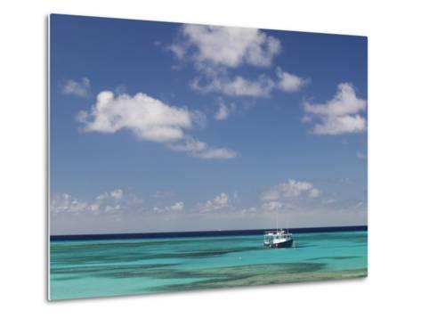 Turquoise Water and Dive Boat, Cockburn Town, Grand Turk Island, Turks and Caicos-Walter Bibikow-Metal Print