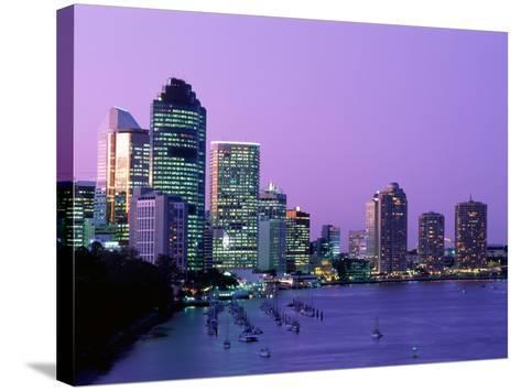 City Skyline, Brisbane, Queensland, Australia-Steve Vidler-Stretched Canvas Print