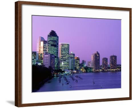 City Skyline, Brisbane, Queensland, Australia-Steve Vidler-Framed Art Print