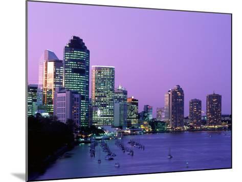 City Skyline, Brisbane, Queensland, Australia-Steve Vidler-Mounted Photographic Print
