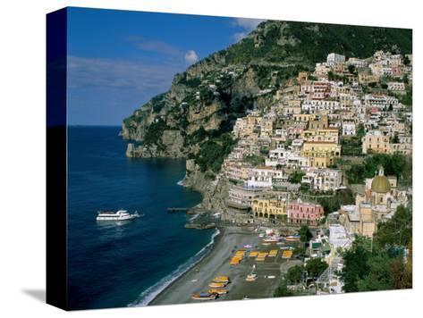 Amalfi Coast, Coastal View and Village, Positano, Campania, Italy-Steve Vidler-Stretched Canvas Print