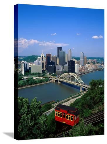 Duquesne Incline Cable Car and Ohio River, Pittsburgh, Pennsylvania, USA-Steve Vidler-Stretched Canvas Print