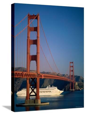 Golden Gate Bridge and Cruise Ship, San Francisco, California, USA-Steve Vidler-Stretched Canvas Print