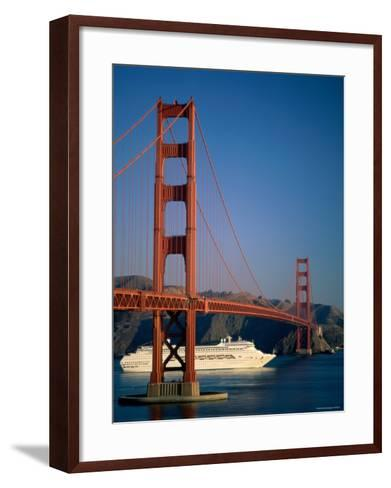 Golden Gate Bridge and Cruise Ship, San Francisco, California, USA-Steve Vidler-Framed Art Print