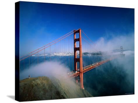 Golden Gate Bridge with Mist and Fog, San Francisco, California, USA-Steve Vidler-Stretched Canvas Print