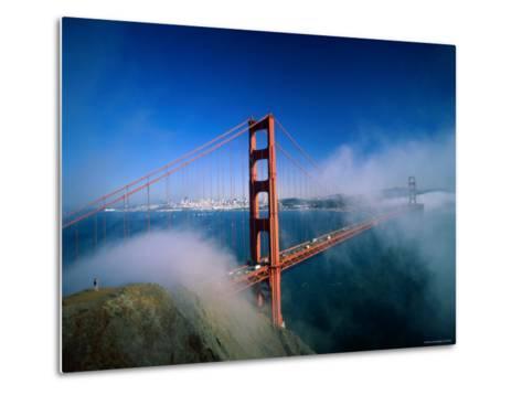 Golden Gate Bridge with Mist and Fog, San Francisco, California, USA-Steve Vidler-Metal Print
