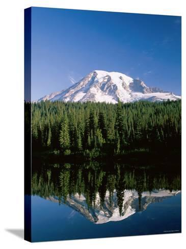 Mount Rainier National Park, Mount Rainier with Snow, Washington, USA-Steve Vidler-Stretched Canvas Print