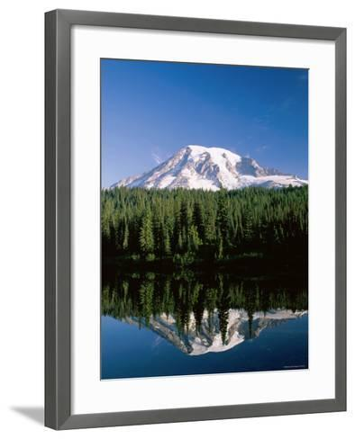 Mount Rainier National Park, Mount Rainier with Snow, Washington, USA-Steve Vidler-Framed Art Print