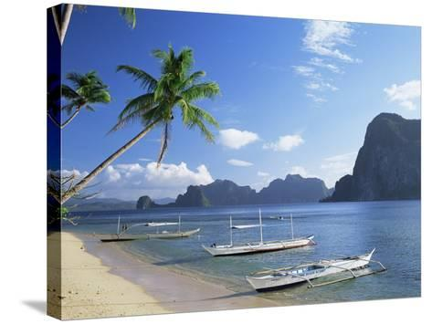 Outriggers at El Nido, Bascuit Bay, Palawan, Philippines-Steve Vidler-Stretched Canvas Print