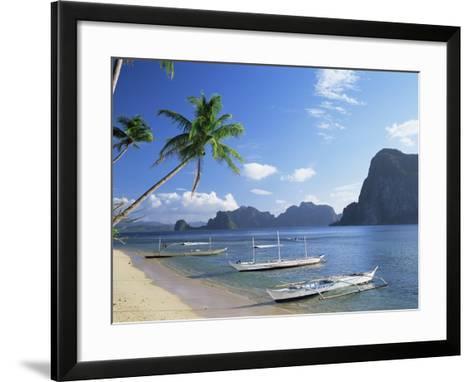 Outriggers at El Nido, Bascuit Bay, Palawan, Philippines-Steve Vidler-Framed Art Print