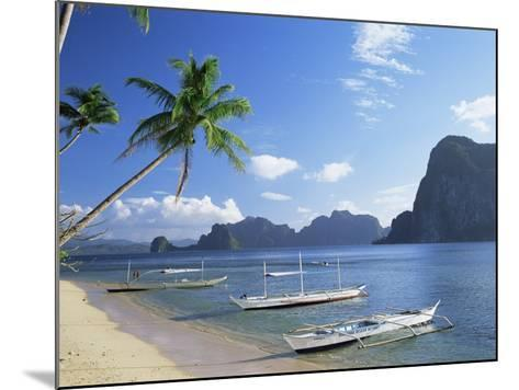 Outriggers at El Nido, Bascuit Bay, Palawan, Philippines-Steve Vidler-Mounted Photographic Print