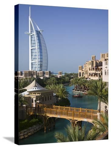 Burj Al Arab Hotel from the Madinat Jumeirah Complex, Dubai, United Arab Emirates-Walter Bibikow-Stretched Canvas Print