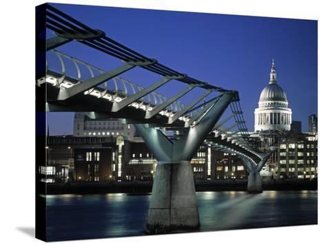 Millennium Bridge and St. Paul's, London, England-Alan Copson-Stretched Canvas Print