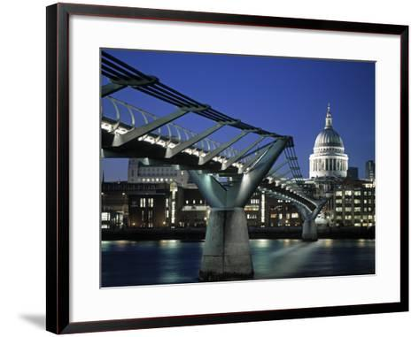 Millennium Bridge and St. Paul's, London, England-Alan Copson-Framed Art Print