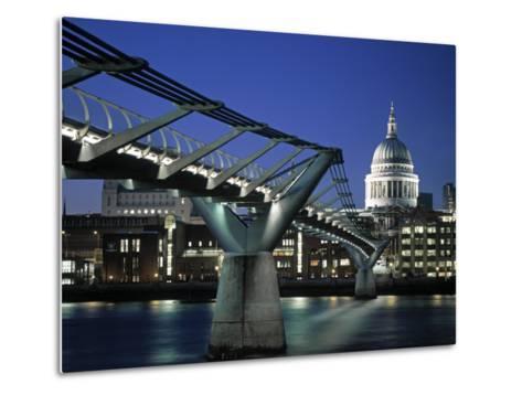 Millennium Bridge and St. Paul's, London, England-Alan Copson-Metal Print