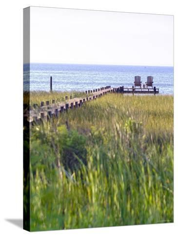 Wooden Pier and Chairs, Apalachicola Bay, Florida Panhandle, USA-John Coletti-Stretched Canvas Print