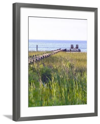 Wooden Pier and Chairs, Apalachicola Bay, Florida Panhandle, USA-John Coletti-Framed Art Print