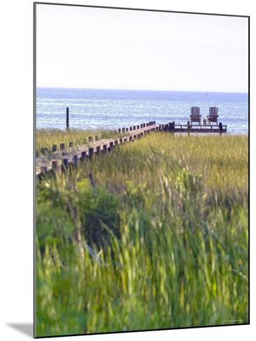 Wooden Pier and Chairs, Apalachicola Bay, Florida Panhandle, USA-John Coletti-Mounted Photographic Print