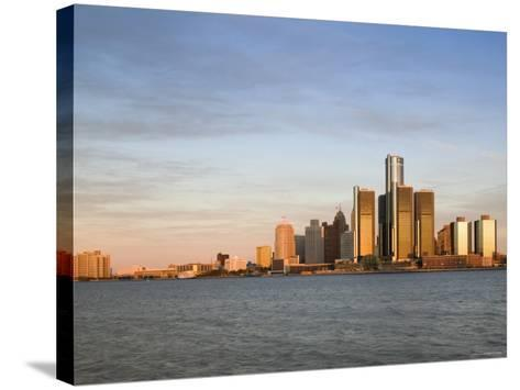 City Skyline Along Detroit River, Detroit, Michigan, USA-Walter Bibikow-Stretched Canvas Print