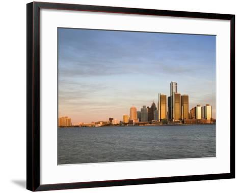 City Skyline Along Detroit River, Detroit, Michigan, USA-Walter Bibikow-Framed Art Print