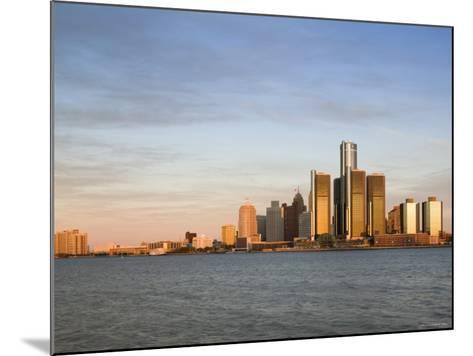 City Skyline Along Detroit River, Detroit, Michigan, USA-Walter Bibikow-Mounted Photographic Print