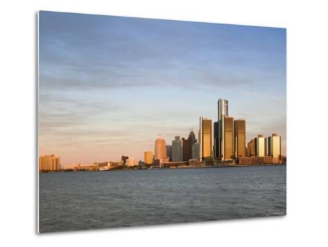 City Skyline Along Detroit River, Detroit, Michigan, USA-Walter Bibikow-Metal Print