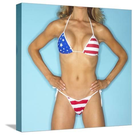 Woman Wearing Patriotic Bikini with Stars and Stripes--Stretched Canvas Print