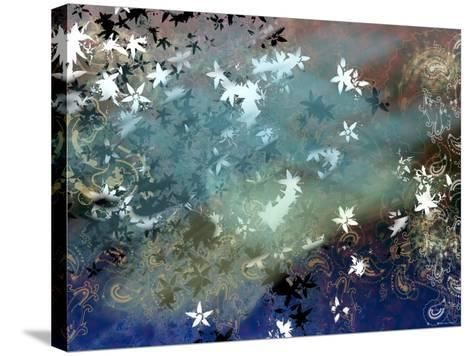 Abstract Snowflakes and Paisleys Floating Through Tranquil Space--Stretched Canvas Print